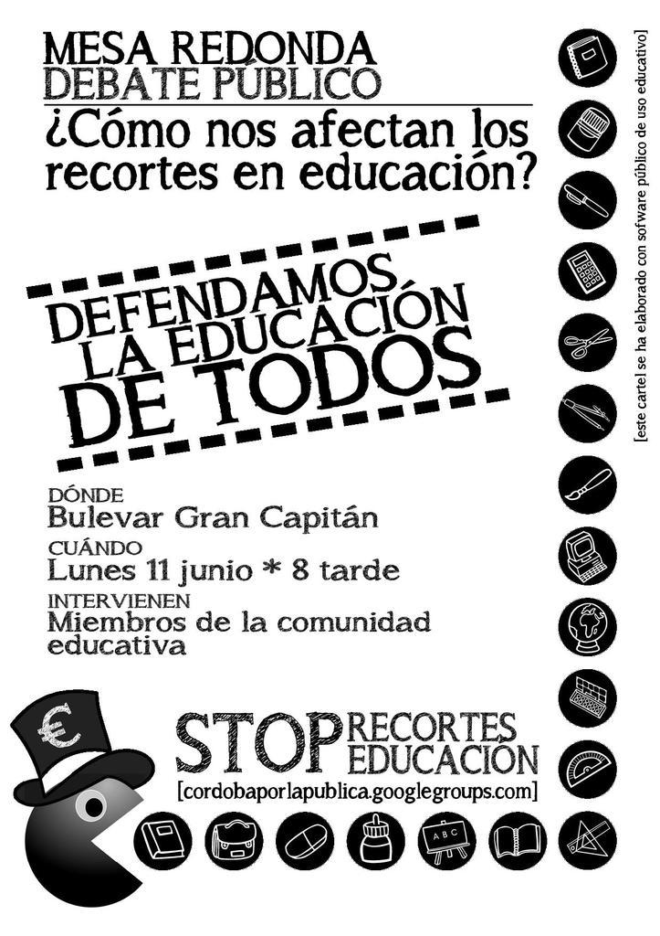 Cartel de anuncio de la mesa redonda ¿cómo nos afectan los recortes en la educación?