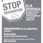 Acción STOP DESAHUCIOS. Por el derecho a la vivienda. 25S 19:30h